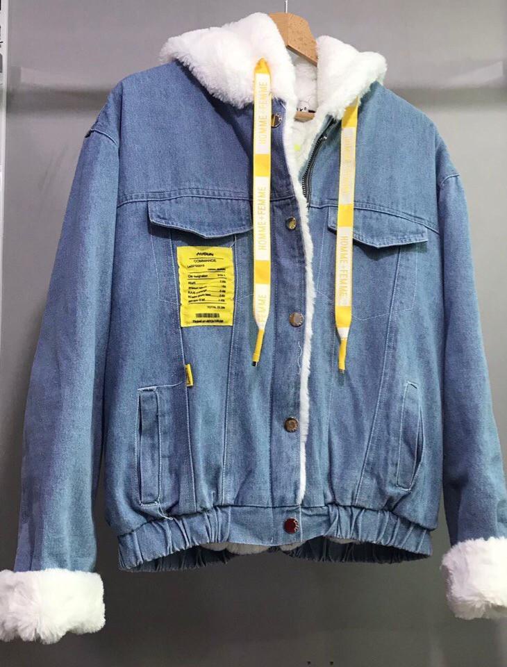 Джинсовая куртка парка с мехом
