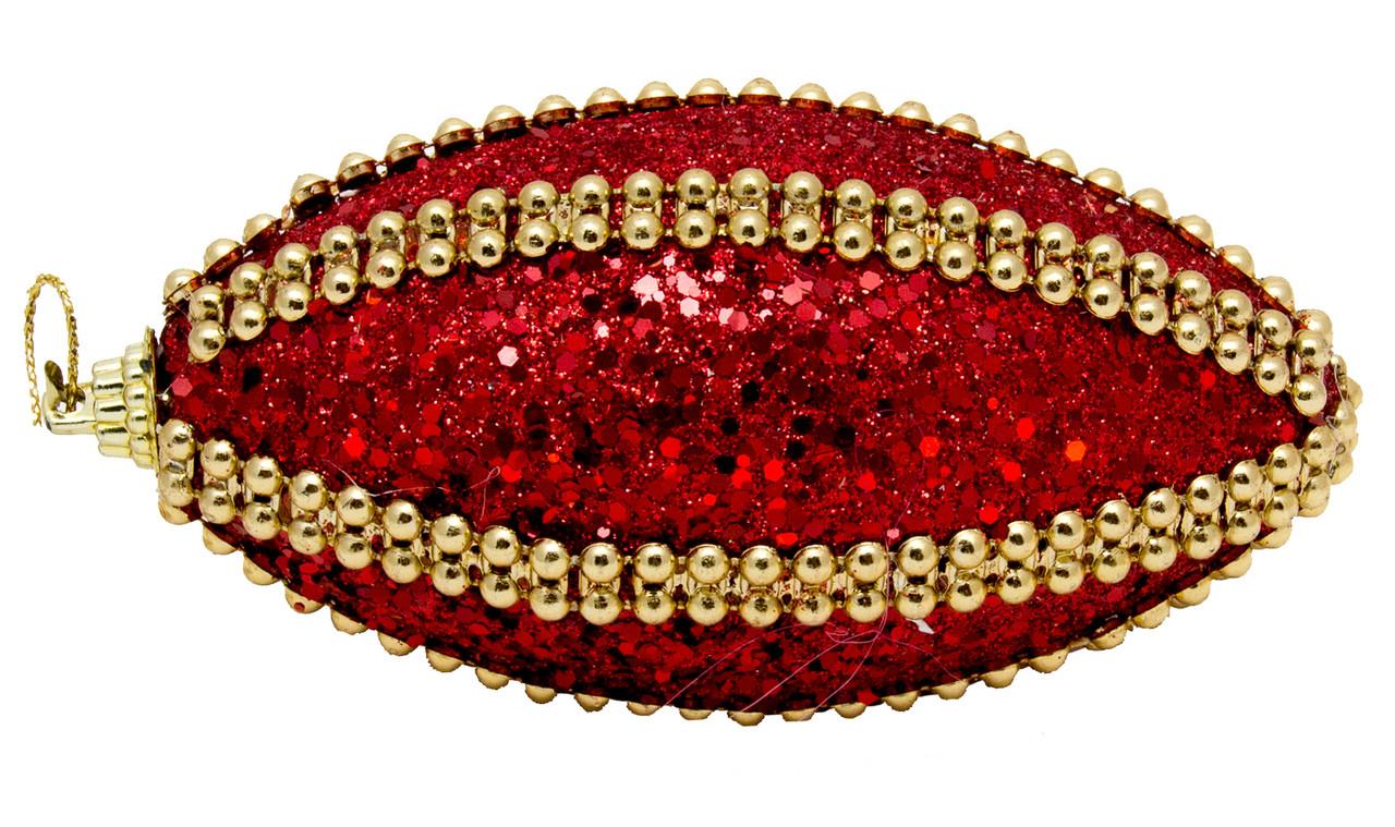 Елочная игрушка в форме оливы, красный 8, 5 см. (661503-9)