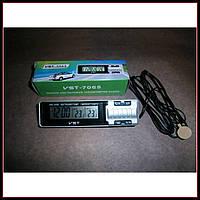 Автомобильные часы с термометром VST-7065 часы в авто, фото 1