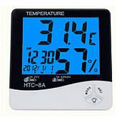 Термометр  Гигрометр электронный HTC-8A с Подсветкой ЖК-дисплея и часы
