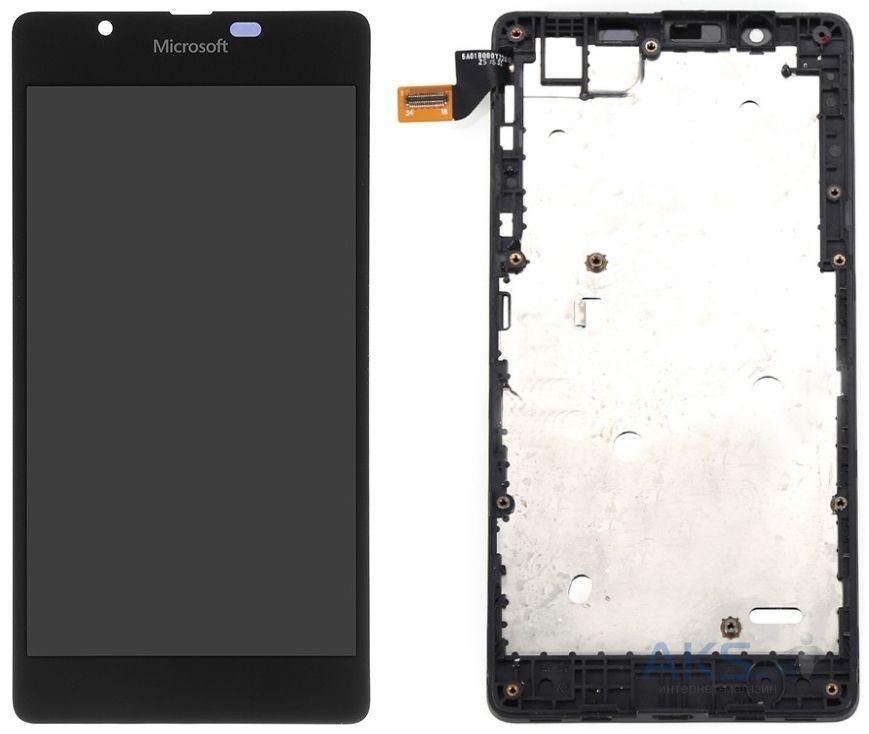 Дисплей (экран) для телефона Microsoft Lumia 435, Lumia 532 + Touchscreen with frame (original) Black