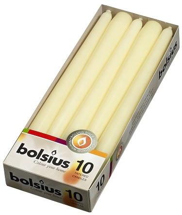 Свеча коническая кремовая Bolsius 24,5 см 10 шт (30-011Б)