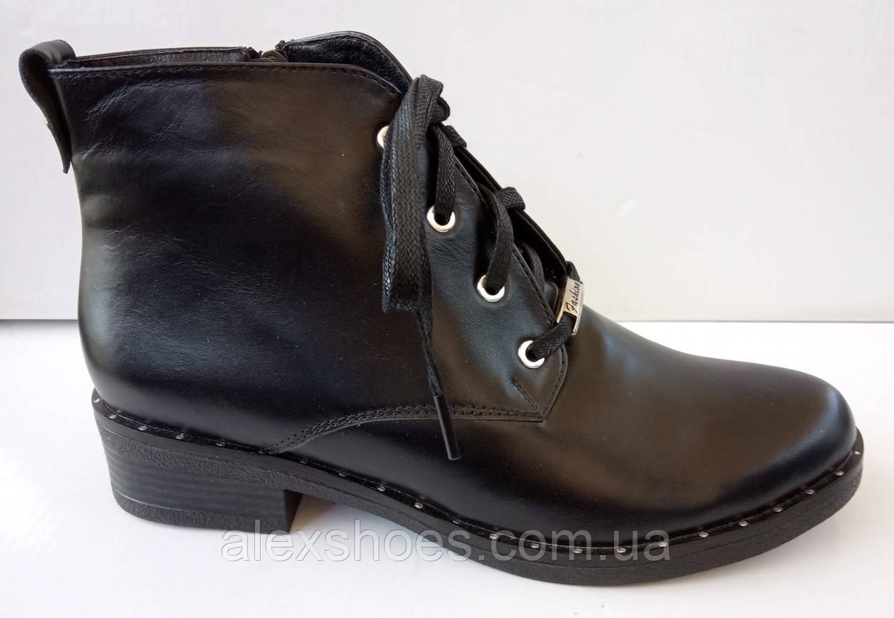 Ботинки демисезонные на удобном каблучке из натуральной кожи от производителя модель ДИС522