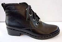 Ботинки демисезонные на удобном каблучке из натуральной кожи от производителя модель ДИС522, фото 1