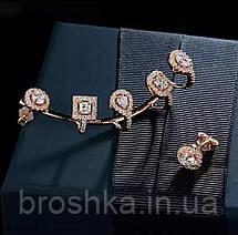 Серьги каффы асимметрия в розовой позолоте с камнями, фото 3