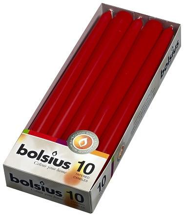 Свеча коническая красная Bolsius 24,5 см 10 шт (30-030Б 57106)