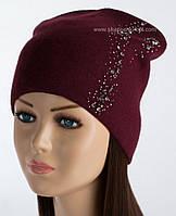 Вязаная шапка-колпак Эвия бордо