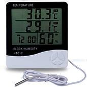 HTC-2 Термометр + виносний датчик цифровий, електронний гігрометр, кімнатний термометр, вимірювач вологи