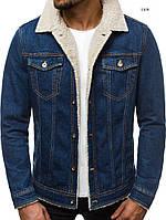Мужская джинсовая куртка на овчине