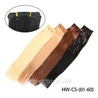 """Натуральные волосы """"Remy"""" на трессах в стиле """"Гладкий шелк"""" HW-CS-(01-60) 50 см, иссиня-черный I (#1)"""