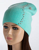 Женская удлиненная шапка Эвия небесного цвета