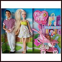 Семья кукол: беременная кукла-мама, кукла-папа, 2 ребенка, аксессуары DEFA 8088, фото 1