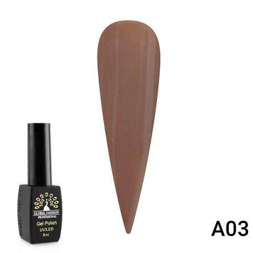 Гель-лак Global Fashion Chestnut 8 мл серия A, A03