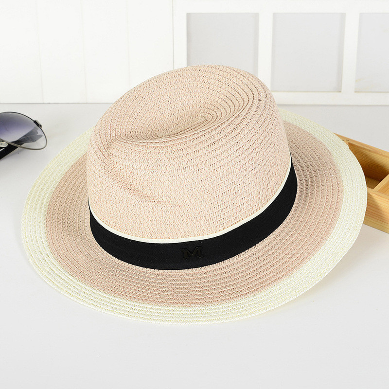 Соломенная розовая летняя шляпа с белой окантовкой, фото 1