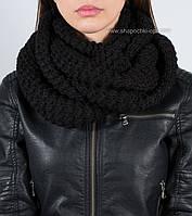 Зимний шарф-хомут Н-129 черный