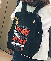 Городской рюкзак. Стильный. Черный. Shark attack. Оксфорд. Код 185В.