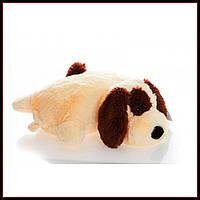 Декоративная детская подушка-трансформер собачка персик 55 см