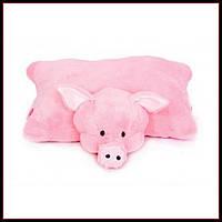 Декоративная детская подушка-трансформер свинка 55 см