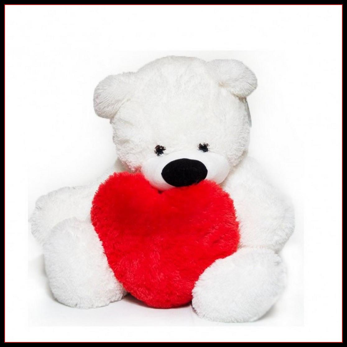 Милый сидячий мишка бублик мягкая игрушка белый с сердцем 70 см