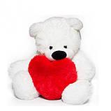 Милый сидячий мишка бублик мягкая игрушка белый с сердцем 70 см, фото 2