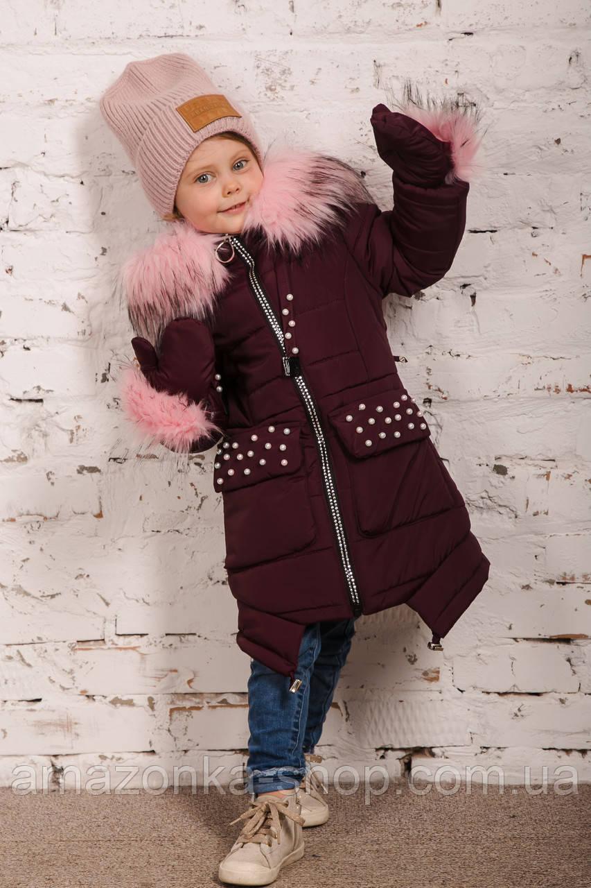 Зимнее пальто с рукавичками для девочек - сезон 2019 - (модель КТ-515)