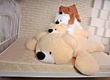Качественная мягкая игрушка мишка 45 см персиковый цвет лежачий, фото 5