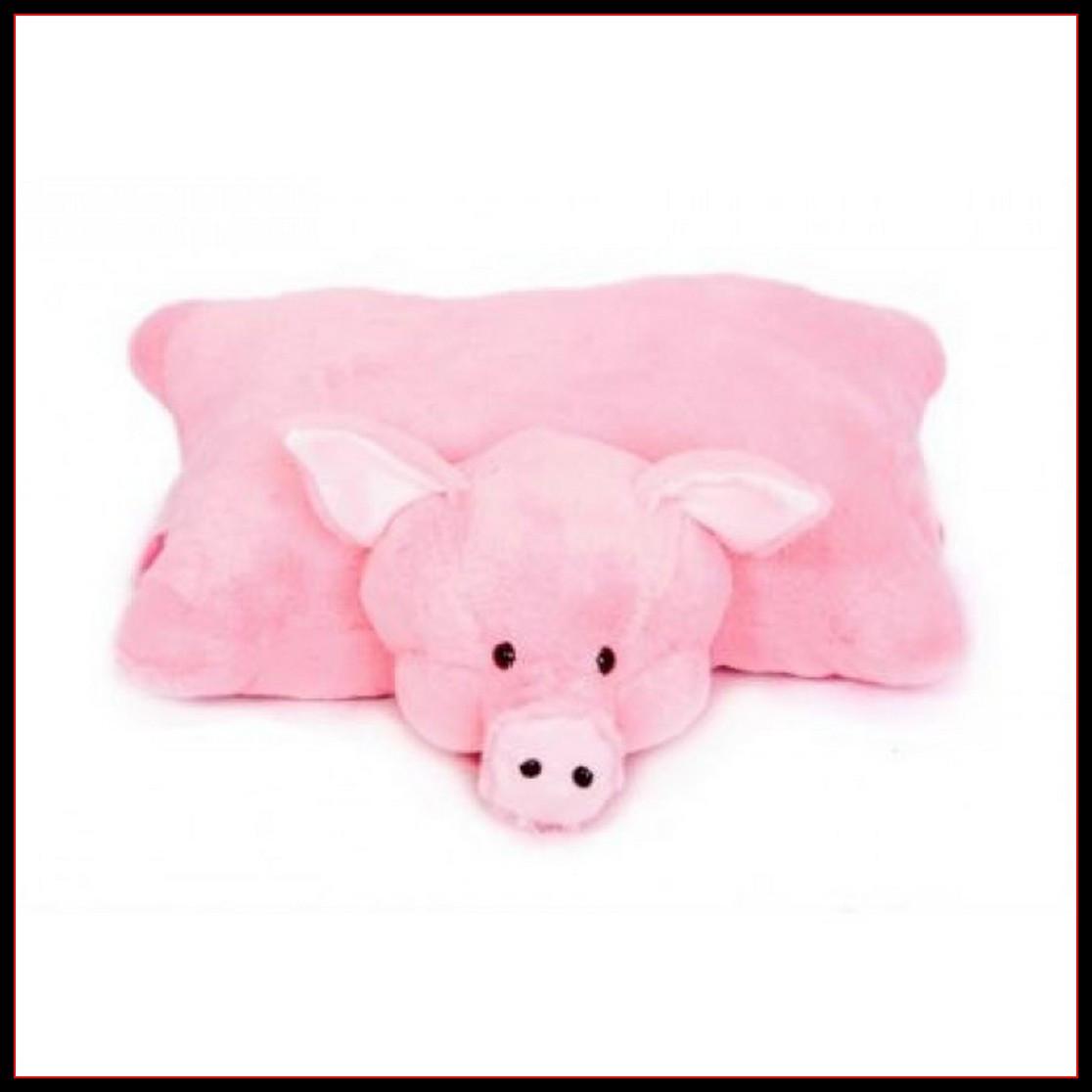 Декоративная детская подушка мягкая игрушка свинка 45 см