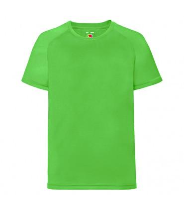 Детская спортивная футболка полиэстер салатовая 013-LM