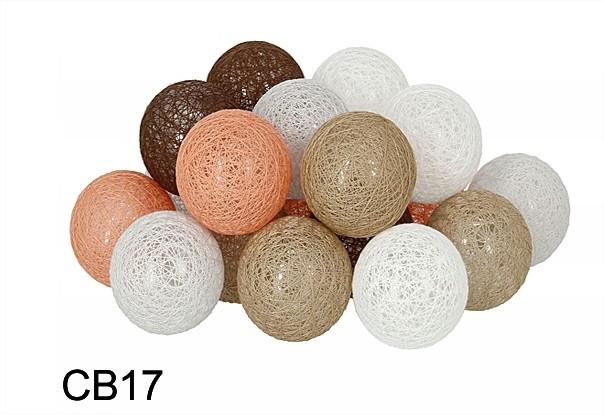 Гирлянда тайская декоративная LTL Licon  Cotton Balls 20led, диам 6см, длина 330см на батарейках АА