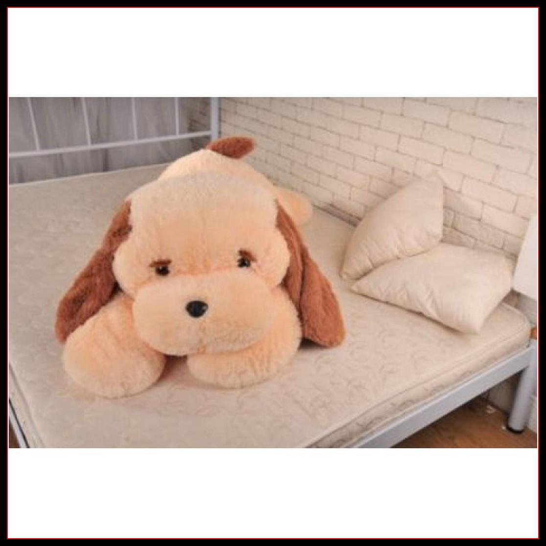 Большая мягкая игрушка Собака 140 см персиковый цвет