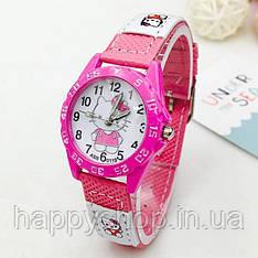 Детские наручные часы для девочки Hello Kitty (Ярко-розовые)