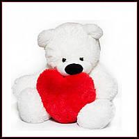 Милый сидячий мишка бублик мягкая игрушка 55 см белый с сердцем