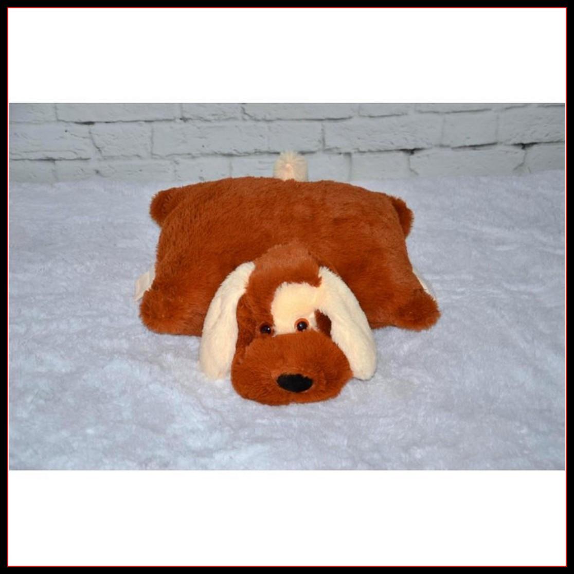 Декоративная детская подушка-трансформер собачка коричневый 55 см
