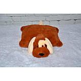 Декоративная детская подушка-трансформер собачка коричневый 55 см, фото 2