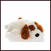Декоративная детская подушка-трансформер собачка белый 55 см