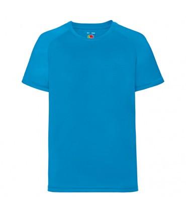 Детская спортивная футболка полиэстер бирюзовая 013-ZU