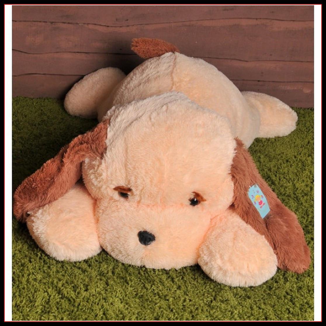 Большая мягкая игрушка Собака 90 см персиковый цвет