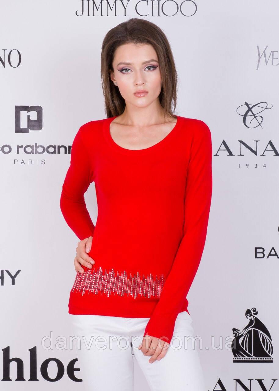 Кофта женская модная стильная со стразами размер универсальный 42-48 купить оптом со склада 7км Одесса