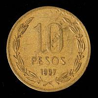 Монета Чили 10 песо 1997 г.