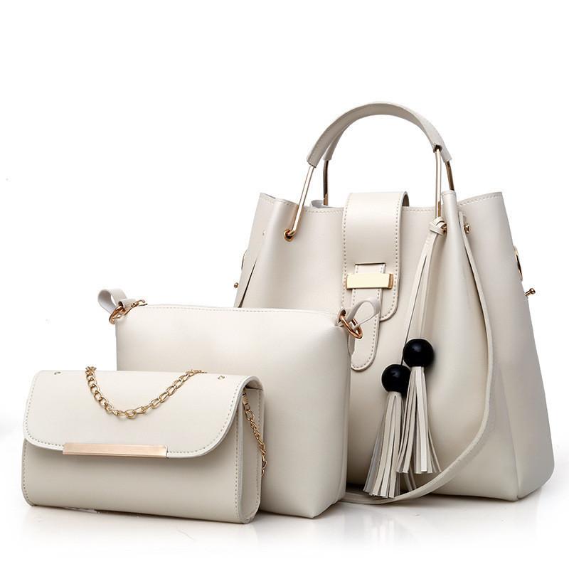 Набор женских сумок 3в1 бежевый из качественной экокожи с косточками, уценка