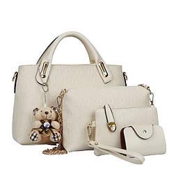 Женская сумка набор 4в1 из экокожи с брелочком бежевый, уценка!