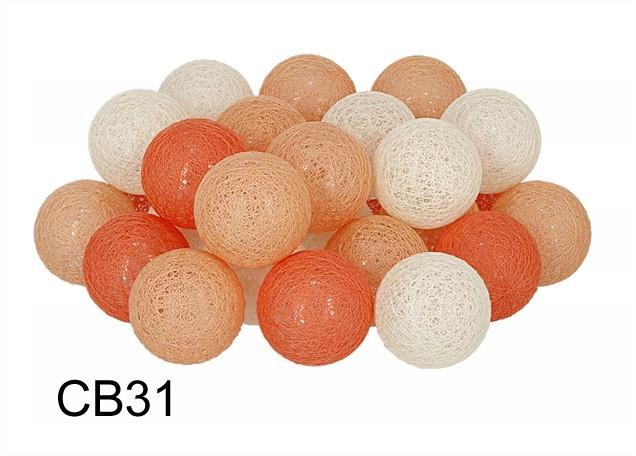 Гирлянда Тайские Шарики LTL Sun Peace  Cotton Balls 30led, диам 6см, длина 540см на батарейках АА