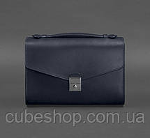 Женская кожаная сумка-кроссбоди Lola (темно-синяя)