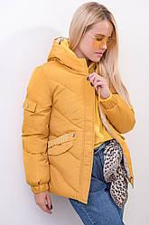 Куртка горчичная женская с надписями на карманах