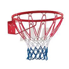 Баскетбольное кольцо с сеткой металлическое d30 см