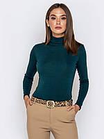 Женский модный однотонный гольф бутылочного цвета р.46-48