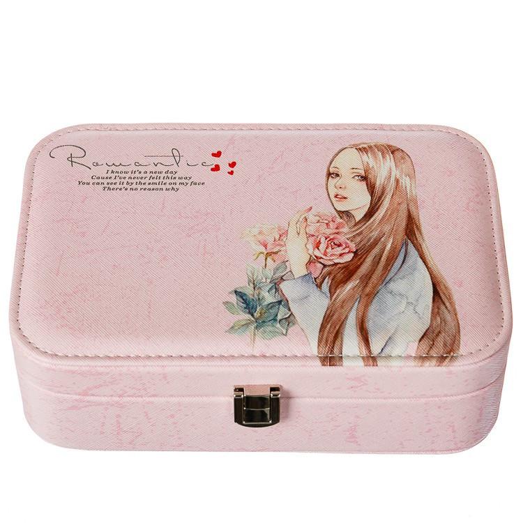 Шкатулка для украшений розовая с зеркальцем кейс для прикрас Девушка 14,5х22,5 см 295JH органайзер