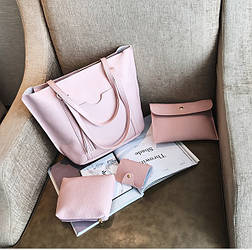 Женские сумки розовые в наборе + мини сумочка + клатч  4в1,уценка!