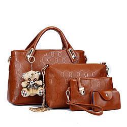 Женская сумка набор 4в1 из экокожи с брелочком коричневый, опт