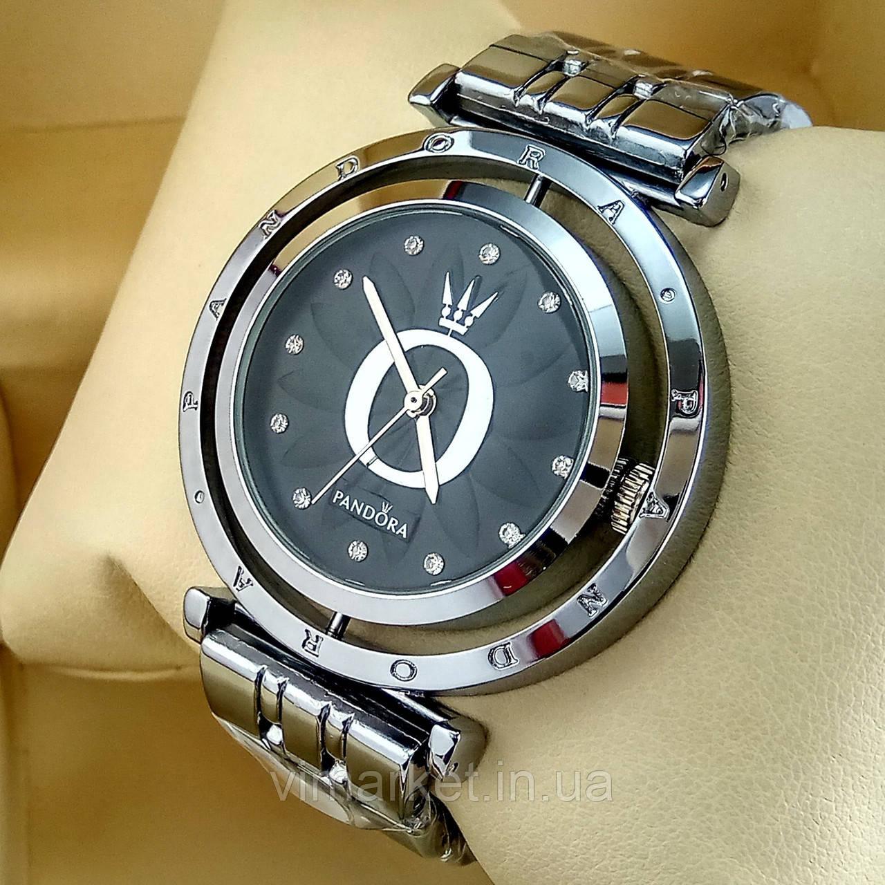 Женские кварцевые наручные часы Pandora T103 серебряного цвета с черным циферблатом на металлическом браслете